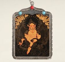 Tibetan Silver Handmade Painting Old Buddha Statue Embellished Necklace Pendant