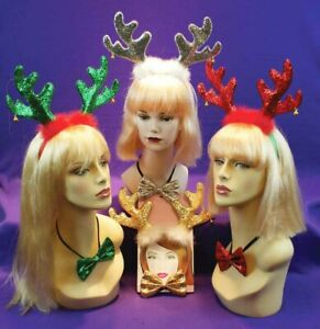 Reindeer Antler Headband & Bow Tie Christmas Headbands Holiday Party Accessory