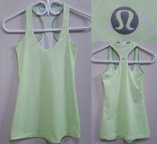 Lululemon COOL RACERBACK Lime Green Micro Stripe Tank Top Size 4 or 6 Yoga Shirt