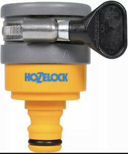 Hozelock 2177 Round Mixer Tap Connector Hose Pipe Fitting Jubilee Clip 24mm Max