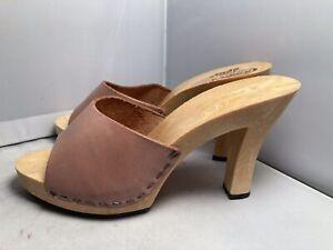 NEW Vintage 1980s Candies Original Sandals High Heels Slides Sexy Leather 6 / 37