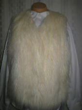 AMERICAN EAGLE OUTFITTERS IVORY FAUX FUR LONG SOFT HAIR VEST SIZE M  HOT RARE