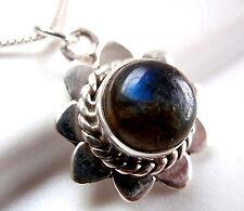 925 Sterling Silver Corona Sun Jewelry Labradorite Pendant w/ Rope Style Accents