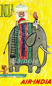 VINTAGE AIR INDIA INDIAN TRAVEL A4 POSTER PRINT