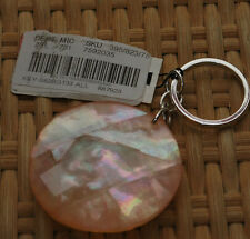 Pink Plastic Stone Key Ring Irredescent Round Key Chain Silver Tone UNIQUE NWT