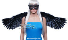 FashionWings (Tm) Black Wide Spread Costume Feather Angel Wings, Halo & Mask