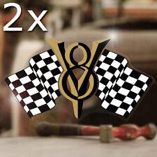 2x Stück V8 Race Flags Aufkleber Sticker Old School Hemi Big Small Block Gold