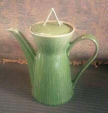 "10"" Ceramic Tea Pot ~ 60's Style Tall / Slim Majolica Green Reed Pattern ~Gibson"