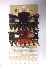Medium Hair Butterfly Claw Clips 3 Pieces Colors Black/Tortoise/Clear 3.5""