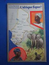 cpa congo illustrateur afrique equatoriale serie du lion noir carte elephant