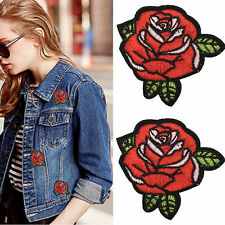 2Pcs Red Rose Flower Embroidery Applique Cloth DIY Sewing/Iron On Patch Badge^