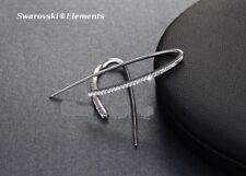 boucles créoles ouverte design Swarovski®Elements platine plaqué or blanc LUXE