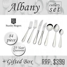 Stanley Rogers Albany Cutlery 84pc Set Stainless Steel Gift Box Fork Knife Spoon
