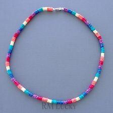 "Puka Smooth Shell Mixed Colors Necklace Choker Surfer Hawaiian Screw Clasp 18"""