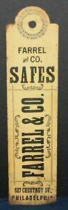 Farrel & Co. Safes, Philadelphia, PA Metal 2 Sided Hanging Fan Pull Sign