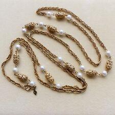 Sarah Coventry collana sautoir vintage tono oro giallo, perle e filigrane