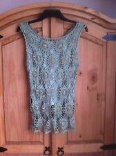 Green Crochet Vest Top with Under Vest Size 10 - 12 1920's Flappers Vintage