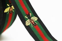 30 mm Bee Designed ribbon, Jacquard Ribbon, Embroidered Bee Trim, Gucci style