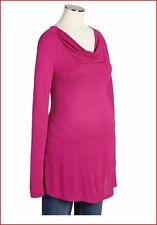 NEW MATERNITY BLOUSE SIZE L LONG SLEEVE SHIRT SOFT A-LINE TOP HOT-PINK WINTER