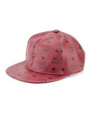 100% AUTHENTIC NEW MCM RED LEATHER VISETOS BASEBALL CAP/HAT