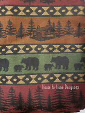 "MOUNTAIN BEAR 72"" SHOWER CURTAIN : JACQUARD RED GREEN LODGE CABIN PINE COUNTRY"