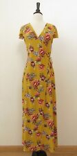 Anthropologie Maxi Dress Faux Wrap Surplice New Size Large XL Yellow Floral Boho