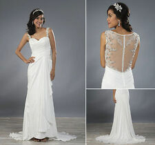 Satin Strappy/Spaghetti Strap Column/Sheath Wedding Dresses