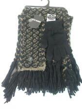 Steve Madden Women's Muffler Scarf Headband & EZ Tap Glove Set Black Brown Knit