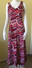Vtg Miss Bierner 10 Maxi Dress 60s 70s Op Art Red Blue White Festival Boho Hippy