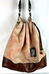 Nardelli Italian Luxurious Leather Large Pink Bucket Drawstring Bag Hobo Purse