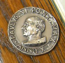 MEDAGLIA PAPA PAOLO VI ANNO X 57 grammi ARGENTO 800 SUBALPINA