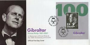 Gibraltar 2021 FDC Royalty Stamps Prince Philip 100th Birth Anniv 1v M/S
