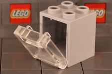 LEGO: Container Box 2 x 2 x 2 (#'s 4345 & 4346) Mid Stone/Clear **Two per Lot**