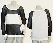 SANCTUARY Linen Cotton Black White Sweater Pullover Top size Large Brand NEW