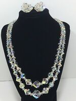 Stunning Vintage Clear Crystal Glass 2 strand Drape Bib Necklace & Clip Earrings