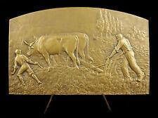 Medaglia c1930 Aratura lavoro campi manzo L Coudray Bouilloux-Lafont Medal
