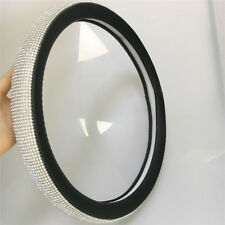 "15"" Crystal Glitter Steering Wheel Cover Black Leather Bling Rhinestone Decor 1x"