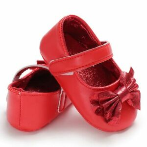 Baby Girl Shallow Butterfly Bow Walking Shoes Wear Hooks And Loops Solid Pattern