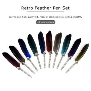 RETRO FEATHER PEN FOUNTAIN QUILL DIP WRITING STATIONERY TEACHERS' GIFT FADDISH