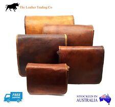 "Small Leather Messenger Satchel Bag - Unisex Vintage - 9"" Full Flap"