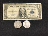 $1.00 1935 Silver Certificate, Franklin Half, & Kennedy Half OLD COINS!!