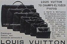 PUBLICITE LOUIS VUITTON BAGAGE SAC PLAT A SOUFFLET AUTO DE 1926 FRENCH AD PUB