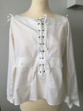 YSL YVES SAINT LAURENT RIVE GAUCHE LACE UP SAFARI WHITE COTTON BLOUSE F44