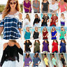 Women's Summer Cold Shoulder Lace T Shirt Tops Casual Loose Blouse Plus Size Tee