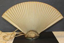 Vintage TV Lamp Mid Century Accordian Paper Fan & Brass Shell Art Deco Table