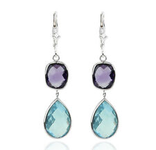 14K White Gold Gemstone Earrings With Dangling Amethyst and Blue Topaz