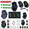 5500DPI LED Optical USB Wired Gaming Mouse 7/6 Button Gamer Laptop Computer Mice