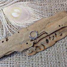 Tiny Sterling Silver Tribal Dot Septum Ring 11x12mm Pierced Nose Ethnic Boho NEW