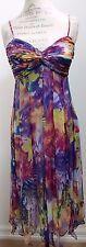 Sue Wong Silk Empire Waist Dress Purple Floral Design Spaghetti Strap Size 8