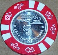 Old $5 SAHARA Casino Poker Chip Vintage Antique Diesuits Mold Lake Tahoe NV 1980